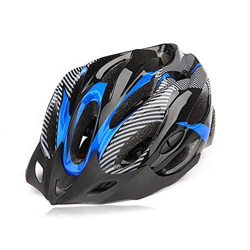 CAheadY Fibra de Carbono de Moda a Prueba de Golpes Casco de Ciclismo de Bicicleta de montaña Ajustable Blue