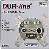 DUR-line 4-agujero de toma de antena SAT | Cable | DVB-T | Radio | Unicable con teclas y apto para montaje en pared (enchufe, apto para Digital)