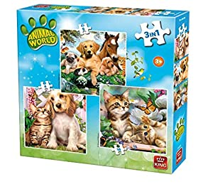 King Animal World 3in1 Puzzle Puzzle - Rompecabezas (Puzzle Rompecabezas, Fauna, Niños, Animal World, Niño/niña, 3 año(s))