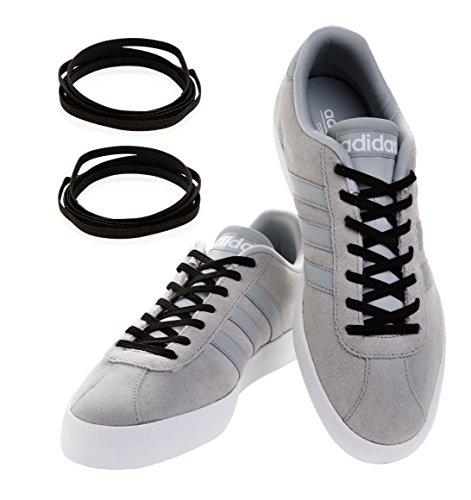 MAXXLACES Flache elastische Schnürsenkel mit einstellbarer Spannung in verschiedenen Farben Schuhbänder ohne Binden komfortable Schuhbinden einfach zu bedienen Past zu jedem Schuh (schwarz)