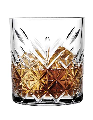 Pasabahce 52790 Whisky Glas Tumbler Timeless im Kristall-Design, Höhe 9,6 cm, 345 ml, 6 Stück, Retro-Design Design Tumbler