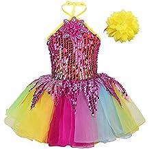 Agoky Vestido Tutú con Lentejuelas Flor 3D Danza para Niñas Cuello Halter  Disfraces Niña Baile Jazz 84ddbb65867