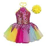 iixpin Vestido Princesa Maillot Niña Disfraz de Actuación de Danza Ballet Falda Tutú Brillantes Infantil Colorido con Lentejuelas Halter Disfraces Baile Jazz (18 Meses-12 Años) Lentejuelas 4-5 años