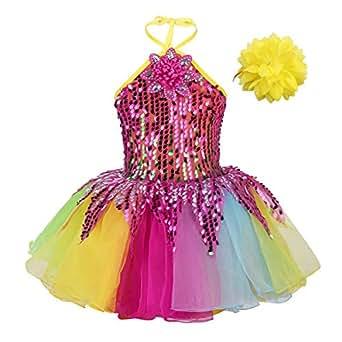 6664f621c08 Image indisponible. Image non disponible pour la couleur   YiZYiF Enfant  Fille Robe de Danse Justaucorps Ballet ...