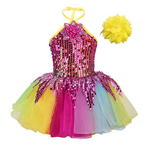 FEESHOW Mädchen Tanzkleid Ballettkleid Tanz kostüme Pailletten Tutu Rock mit Armband Regenbogen Performance Bunt Bunt - Kleinkind Kostüm Mit Tutu