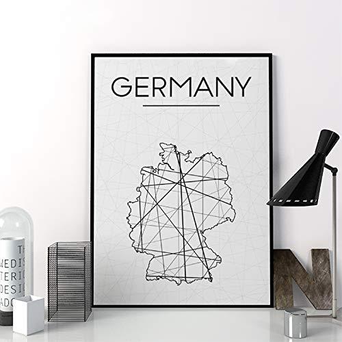 Liwendi Abstrakte Deutschland Karte Poster Einfache Leinwand Wohnzimmer Dekoration Malerei 50 * 70 cm
