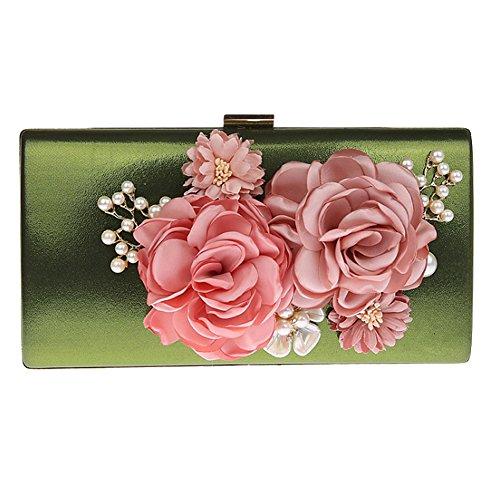 KELAND Frauen Satin Blume Abend Handtasche Clutch Perle Perlen (Grün) -