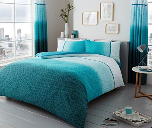 Duvet Cover Set Super King Size superKing Bed With Pillowcases Quilt Bedding Set Printed Reversible Poly Cotton , Urban Ombre Teal