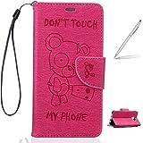 """Trumpshop Smartphone Case Coque Housse Etui de Protection pour Samsung Galaxy A3 (2016,A310,4.7"""") + Don't Touch My Phone (Ourson) Rouge + PU Cuir [Non compatible avec A3 (2015,A300,4.5"""")]"""