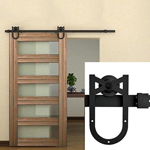 Homgrace - Kit de accesorios para puerta corrediza de granero de acero inoxidable y aleación de zinc para puertas interiores de madera