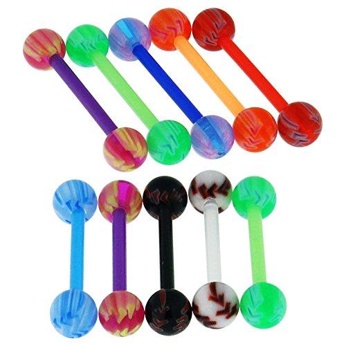 10 Stück Pack UV Baseball Ball mit 16MM Länge - 14 Gauge Bioplast Flexible Straight Barbell Zunge Bar Piercing