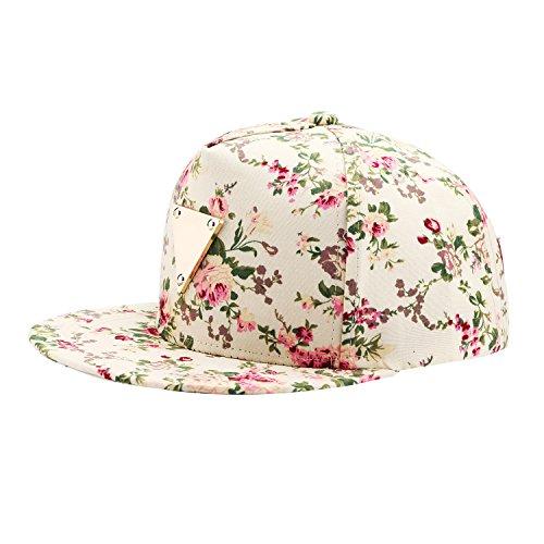 Blumendruck Snapback Cap Floral Hip Hop Baseballkappe Flat Schildmütze mit Metal Anwendung (Floral Cap)