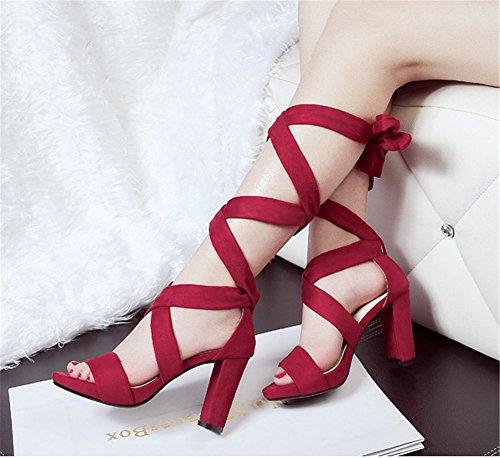 Wealsex damen blockabsatz sandalen Rotwein