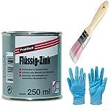 Flüssig-Zink Dose Wetterfest und Farbtonstabil Farbe: silber inkl. 1x Pinsel zum Auftragen (flüssig-Zink 250 ml)