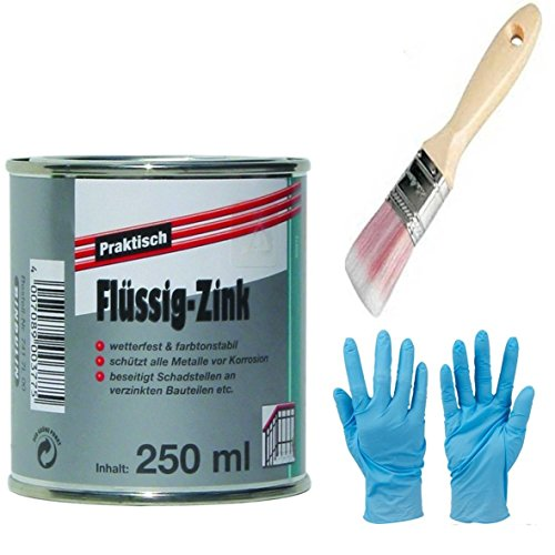 Flüssig-Zink Dose Wetterfest und Farbtonstabil Farbe: silber inkl. 1x Pinsel zum Auftragen (flüssig-Zink 250 ml) (Pinsel Zink)
