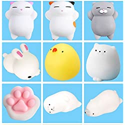 9Pcs Mini Kawaii suave Cat pollo cierre elástico Squishy juguete con caja mochi Squeeze Toy Stress Reliever