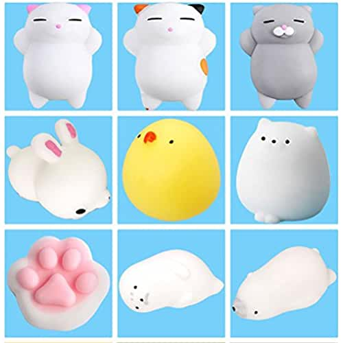 mini kawaii miniaturas kawaii 9Pcs Mini Kawaii suave Cat pollo cierre elástico Squishy juguete con caja mochi Squeeze Toy Stress Reliever