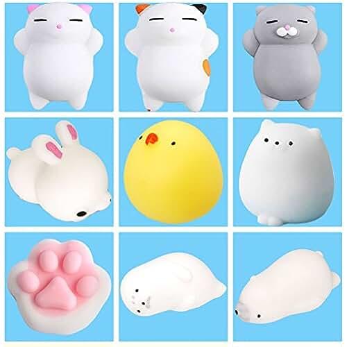 mini kawaii miniaturas kawaii 9Pcs Mini Kawaii suave Cat pollo cierre elástico Squishy juguete con caja mochi Squeeze Toy Stress Reliever