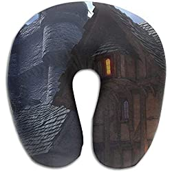 Ejdkdo Beautiful Medieval Building Print U Type Pillow Memory Foam Neck Pillow for Travel and Relief Neck Pain Comfortable Super Soft Cervical Pillows