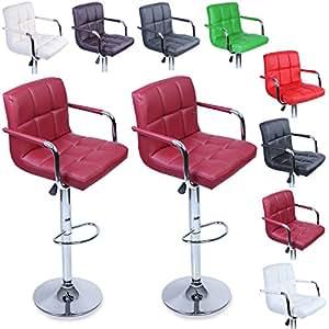 tresko 2er set barhocker barstuhl drehhocker lounge hocker mit r ckenlehne und armlehnen f r. Black Bedroom Furniture Sets. Home Design Ideas
