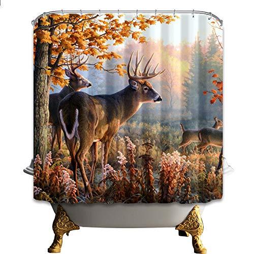 JYEJYRTEJ Paisaje de Ciervos Cortina de baño Lavable y de Secado rápido, impresión HD, 12 Ganchos, decoración de baño