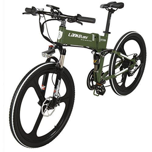 Preisvergleich Produktbild LANKELEISI 26 Zoll Folding Elektro-Fahrrad Shimano 7-Gang Full Suspension MTB Berg Ebike mit 240W Brushless Motor,  48V 10Ah Lithium-Batterie,  Dual-Mechanische Scheibenbremsen für Outdoor-Reisen (Armee-Grün)