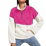 Saihui_Kapuzenpullover Damen Pullover Herbst Winter Sweatshirt Outwear Warm Plüsch Langarmshirt Übergröße Tops Bluse Oberteil T-Shirt mit Zipper-Kragen, 9 Farbe S-XL.