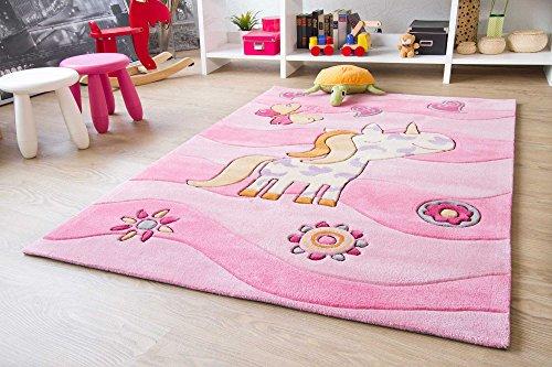 Theko-Kinder-Teppich-Maui-Einhorn-Rosa-inkl-Kostenloser-Unterlage-ko-Tex-geprft-Gre-100x160-cm