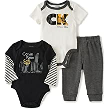 Calvin Klein Baby Two Solid Bodysuit with Pants Set, Black/White, 3/6 Months