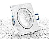 Spot IP44 Aluminium Einbaustrahler - weiß eckig - mit Klickverschluss und Glasabdeckung - für Feuchtraum Bad