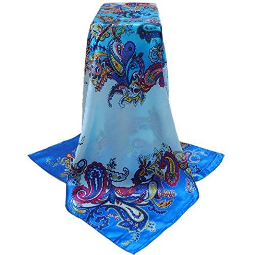 Transer ® Femelle Écharpes,Mode femme Waves Cashew Fleur Imprimé Echarpes Promotion en Europe Bleu