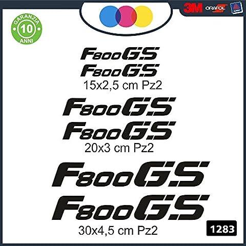 6 ADESIVI BMW F800GS - ADESIVI PER MOTO - rally touring sticker decal Moto Cod. 1283 (Nero)