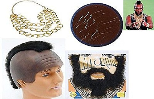 Mr T A Team BA Baracus 80's Movie Fancy Dress Stag Night 4 Piece Instant Kit Costume Set (Mega_Jumble)