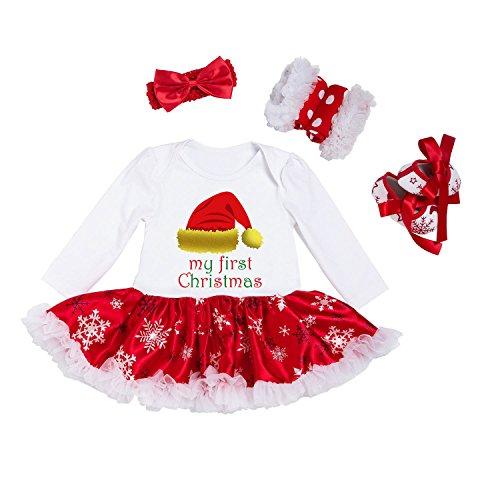 (BabyPreg® Baby Mädchen Mein erstes Weihnachten Sankt Kostüm-Partei-Kleid 4PCS (S/ 3-6 Monate, Hut))