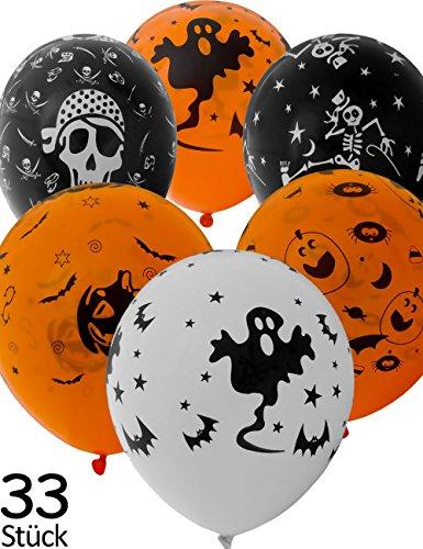Stück Luftballons Halloween | Grusel Gespenster Kürbis | 30cm Ballons verschiedene Farben | 33er Set (Piraten Deko-ideen Für Halloween)