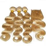 Best Hair Weave Blonde 3 Bundles - Body Wave Hair Weave with Closure Blonde 4
