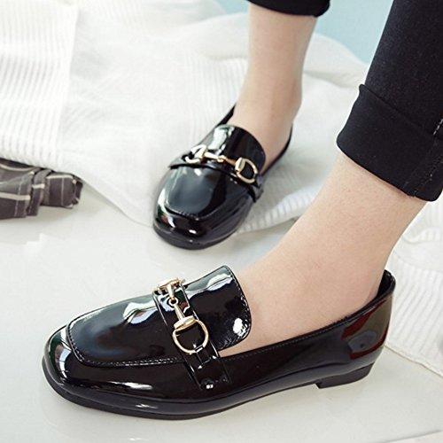 COOLCEPT Femmes Confortable Slip On Appartement Escarpins Ecole Robe Chaussures Noir