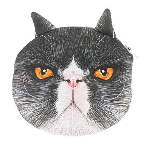 Adorabile gatto Lovers Cat Face small Spalla Borsetta Black White Persian