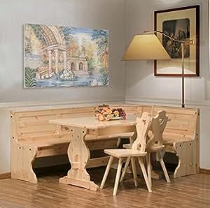 Coin de repas rustica en bois de pin massif couleur miel for Coin tavoli