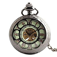 Lekima Pendant Pocket Watch Transparent Hollow Sun Flower Roman Numeral Skeleton Stripe Engraved Mechanical Movement Automatic Clamshell Single Alloy Chain Classical Gift For Men Women