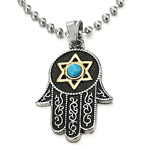 COOLSTEELANDBEYOND Hamsa Mano de Fátima, Protección Colgante con Oro Estrella de David y Azul Bola Piedra, Acero Collar Mujer Hombre
