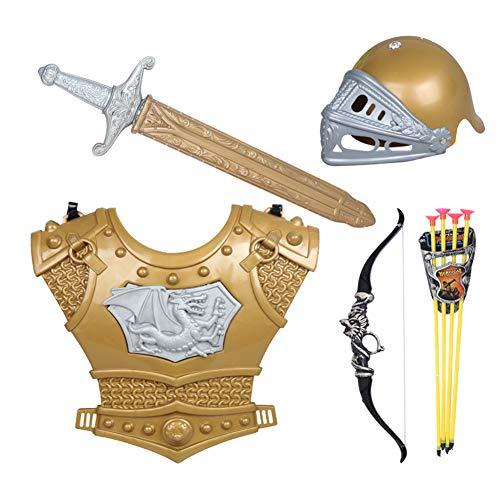 üstung Ritterkostüm - Helm,Schwert,Pfeil und Bogen,Brustplatte Kinder Krieger Cosplay ()