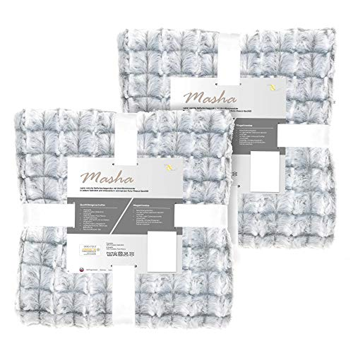 aqua-textil Masha Bettwäsche 135 x 200 cm 4teilig Polar Fleece Wendebettwäsche Fellimitat Bezug mit Reißverschluss grau