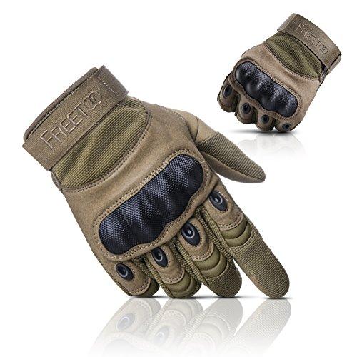 [Sport Handschuhe] FREETOO taktische Handschuhe Motorrad Handschuhe Herren Vollfinger Handschuhe mit gepolstertem Rückenseite geeignet für Airsoft Militär Paintball Motorrad Fahrrad und andere Outdoor Aktivitäten (Vollfinger Gelb, L)