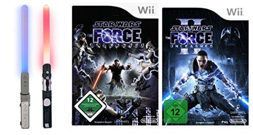 Wii Star Wars Bundle: 2 Lichtschwerter + Spiele The Force Unleashed 1 & 2 - Wii-lichtschwert