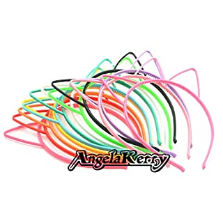 AngelaKerry 12pcs Mix Color Cat Ear Plastic Headbands Hairbands Bow for Girl's Fashion Party DIY