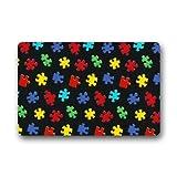 coloré sensibilisation à l'autisme pièces de puzzle en caoutchouc antidérapant Tapis de porte d'entrée Paillasson 45,7x 76,2cm