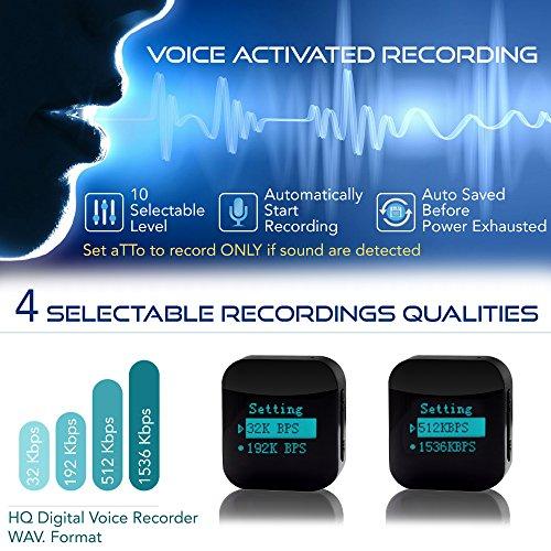 aTTo Digital Spionage Recorder – Mini Diktiergerät, Stimmenaktivierung, Passwortschutz, 24 Stunden Akku, 1144 Stunden Aufnahme, 16GB, USB-Anschluss, Schwarz