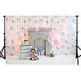 Waw 7x5Fuß(2.2x1.5m) 1St Birthday Hintergrund Pink Blumen Luftballons Hintergrund Foto für Baby Kuchen Smash Party