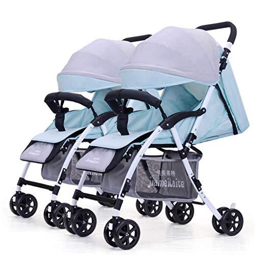 ZLMI Twin Passeggino Portatile Pieghevole Seduta/Distesa Staccabile Separazione Ammortizzatore Ultra-Leggero Adatto per 0-3 Anni BB Auto,A